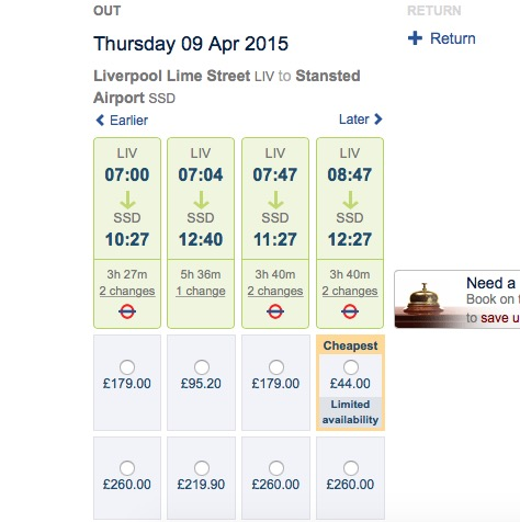 Train fare to Stansted Airport - booked well in advance - from Liverpool