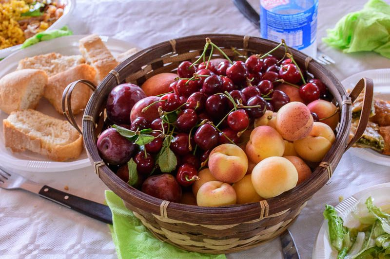 Cherries and peaches of Spain