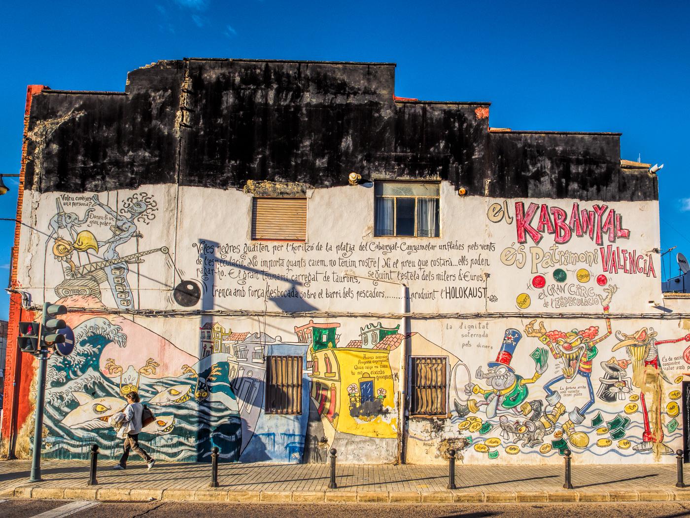 Decaying beauty graced by pretty graffiti