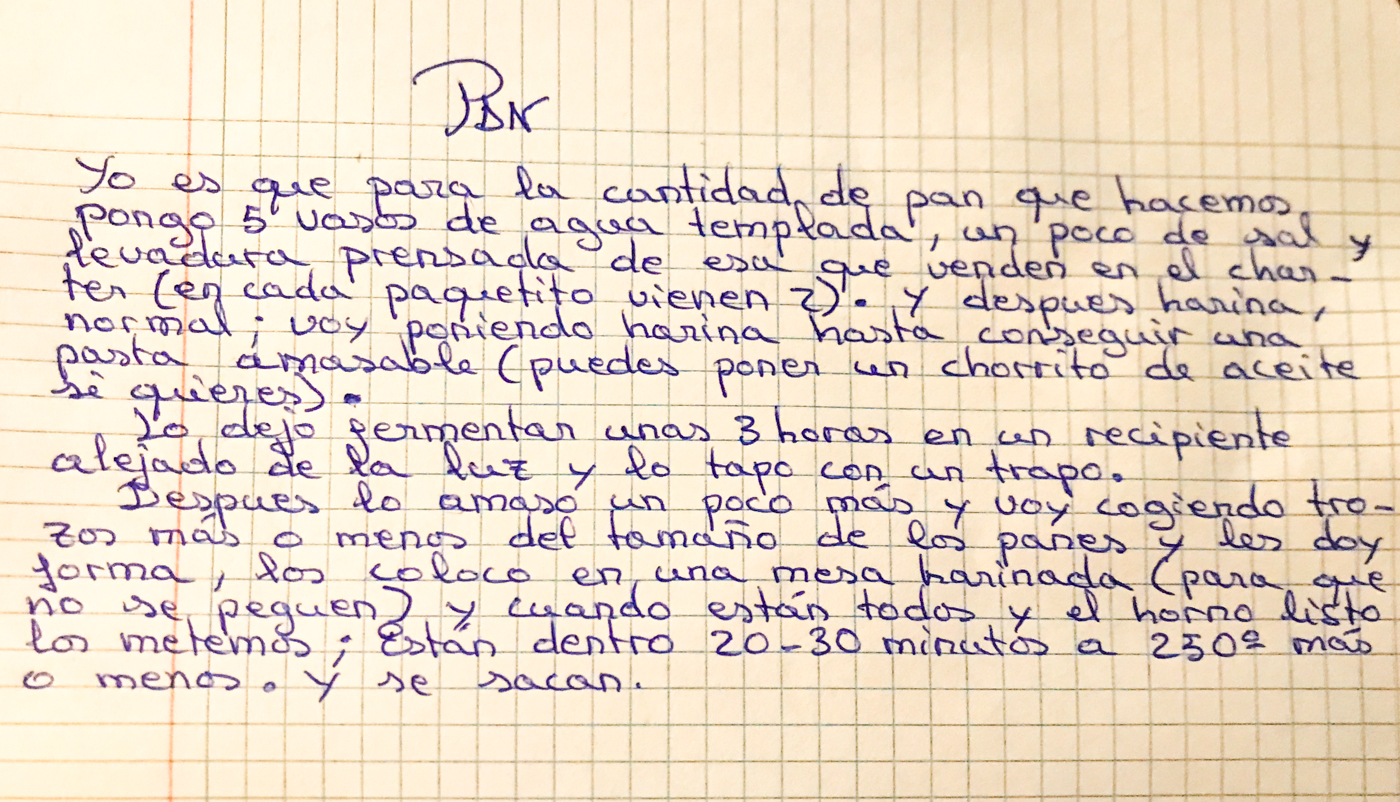 Hand-written recipe