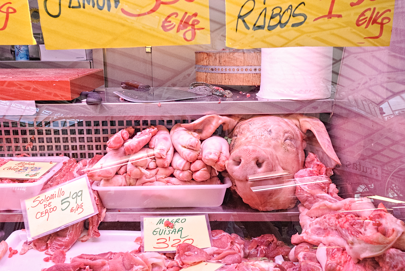 Pig's head in pride of place at a boutcher's